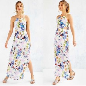 JOA Watercolor Floral Tie Cut Out Back Maxi Dress